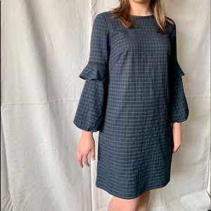 LOFT Blue and Green Gingham Dress